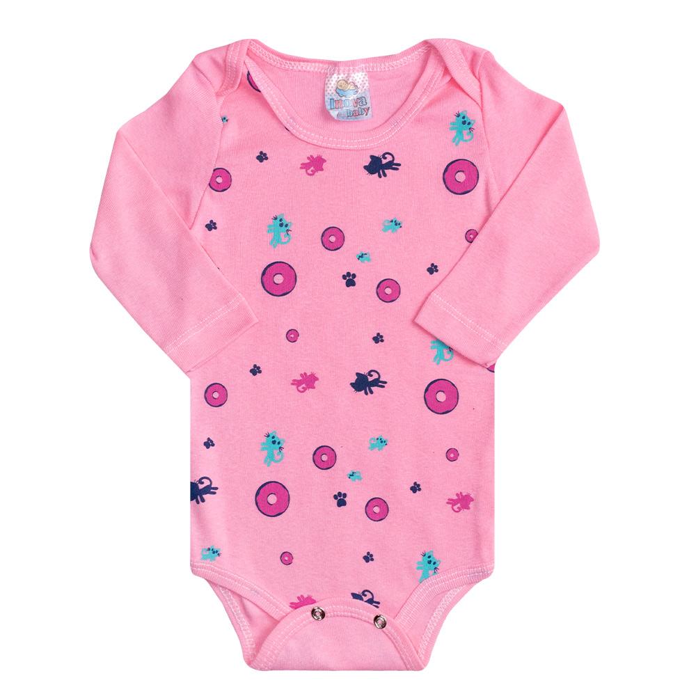 Conjunto Bebê Body Cat Rosa  - Jeito Infantil