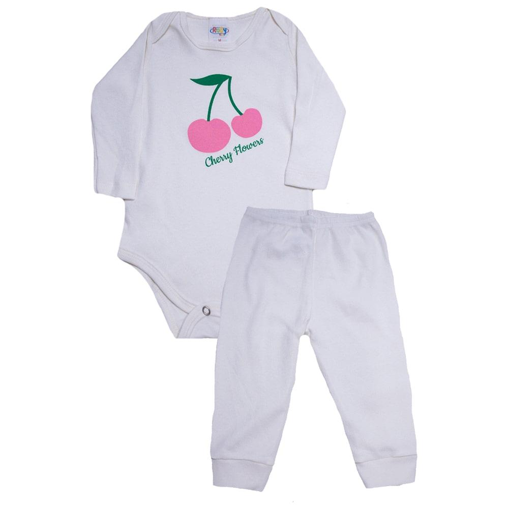 Conjunto Bebê Body Cereja Pérola  - Jeito Infantil