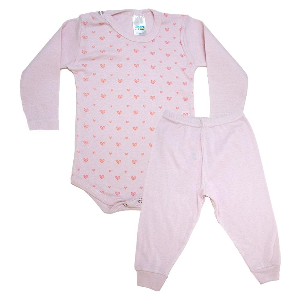 Conjunto Bebê Body Coração Rosa  - Jeito Infantil