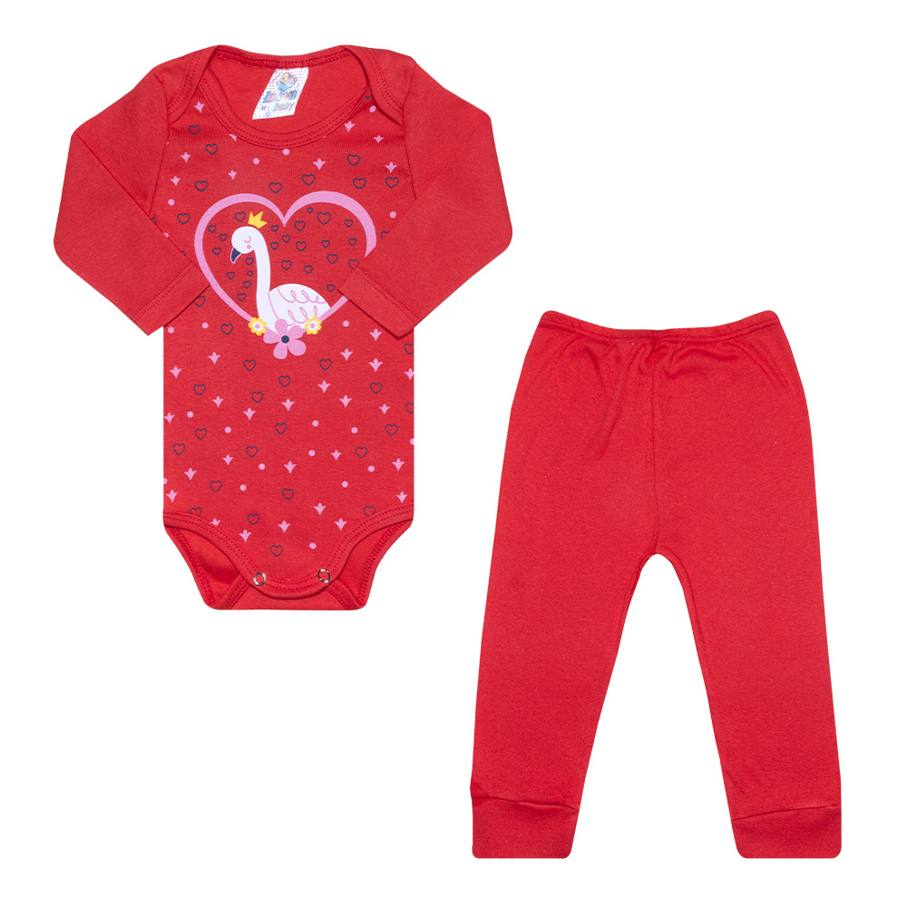 Conjunto Bebê Body Coração Vermelho  - Jeito Infantil