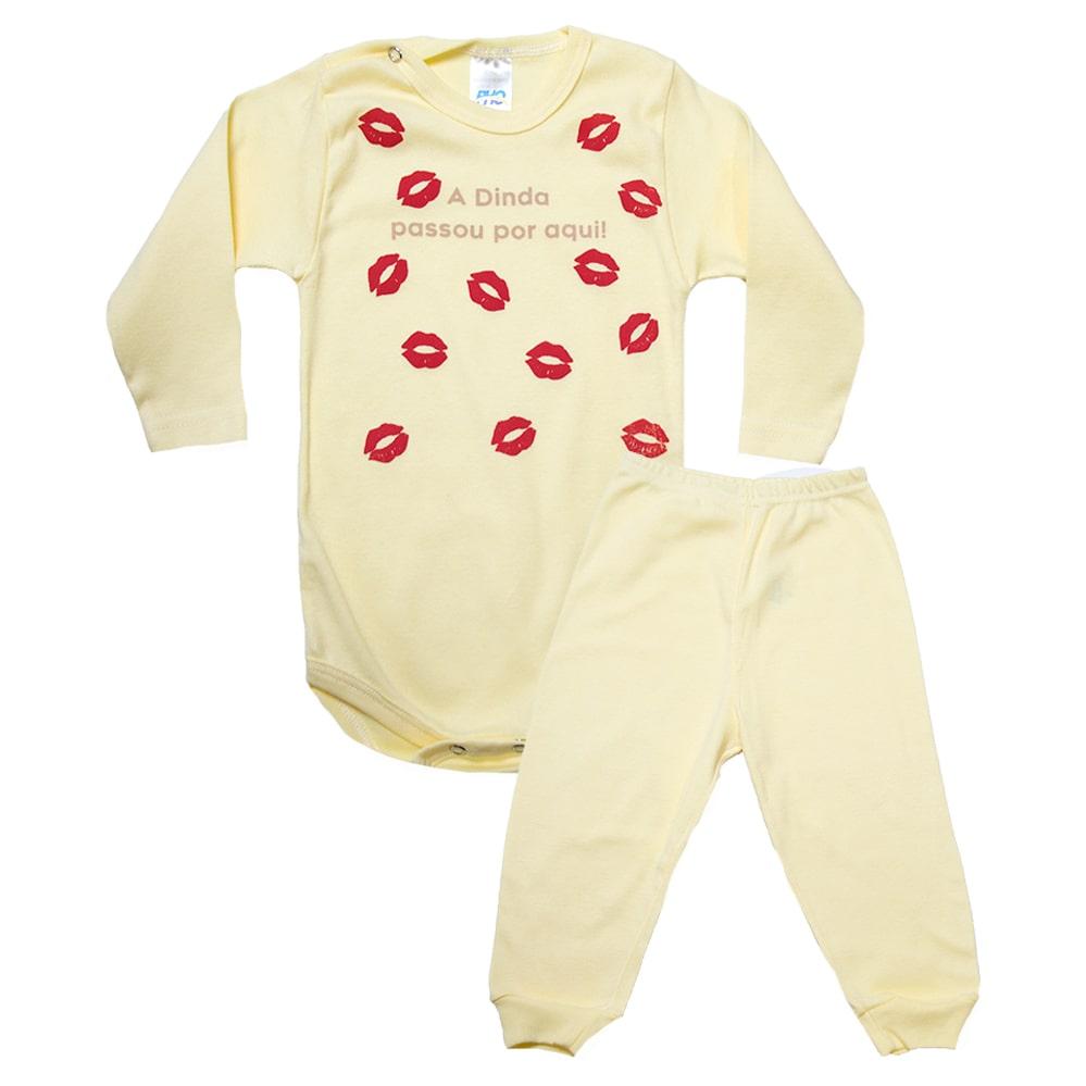 Conjunto Bebê Body Dinda Passou Por Aqui Amarelo Com Rosa  - Jeito Infantil