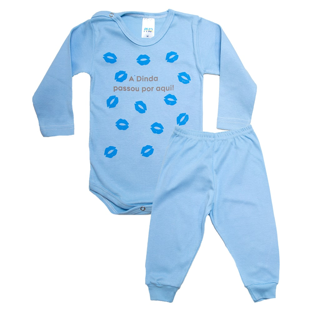 Conjunto Bebê Body Dinda Passou Por Aqui Azul  - Jeito Infantil