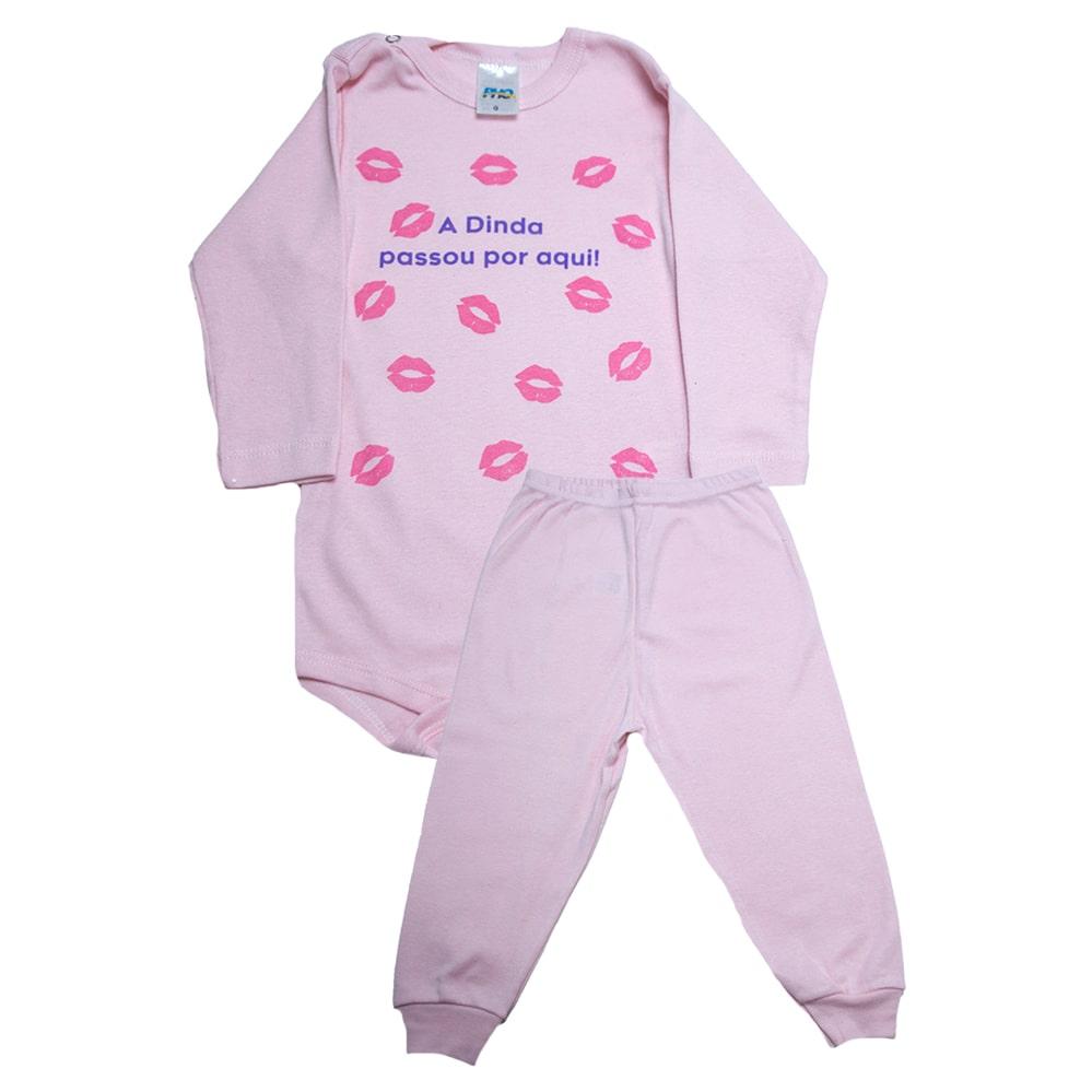 Conjunto Bebê Body Dinda Passou Por Aqui Rosa  - Jeito Infantil