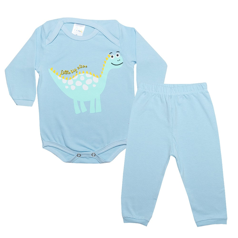 Conjunto Bebê Body Dino Azul  - Jeito Infantil