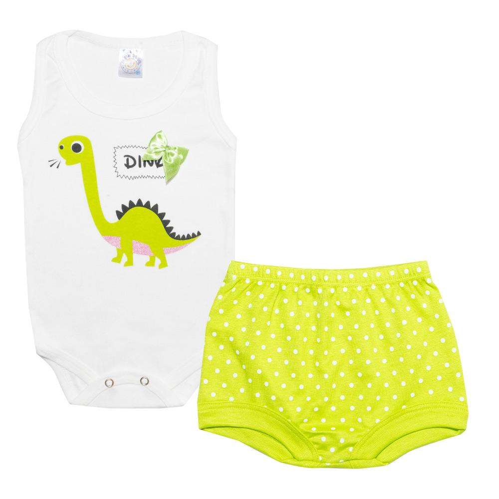 Conjunto Bebê Body Dino Pérola  - Jeito Infantil