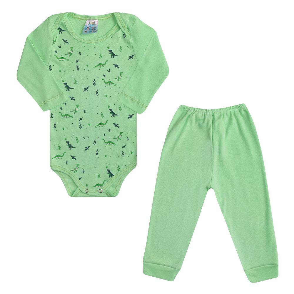 Conjunto Bebê Body Dino Verde  - Jeito Infantil