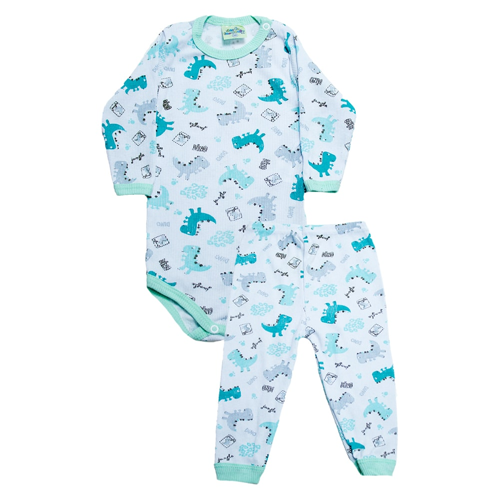 Conjunto Bebê Body Dino Verde Branco  - Jeito Infantil