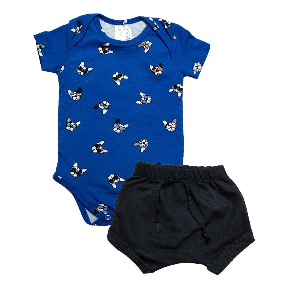 Conjunto Bebê Body Dog Azul Royal  - Jeito Infantil