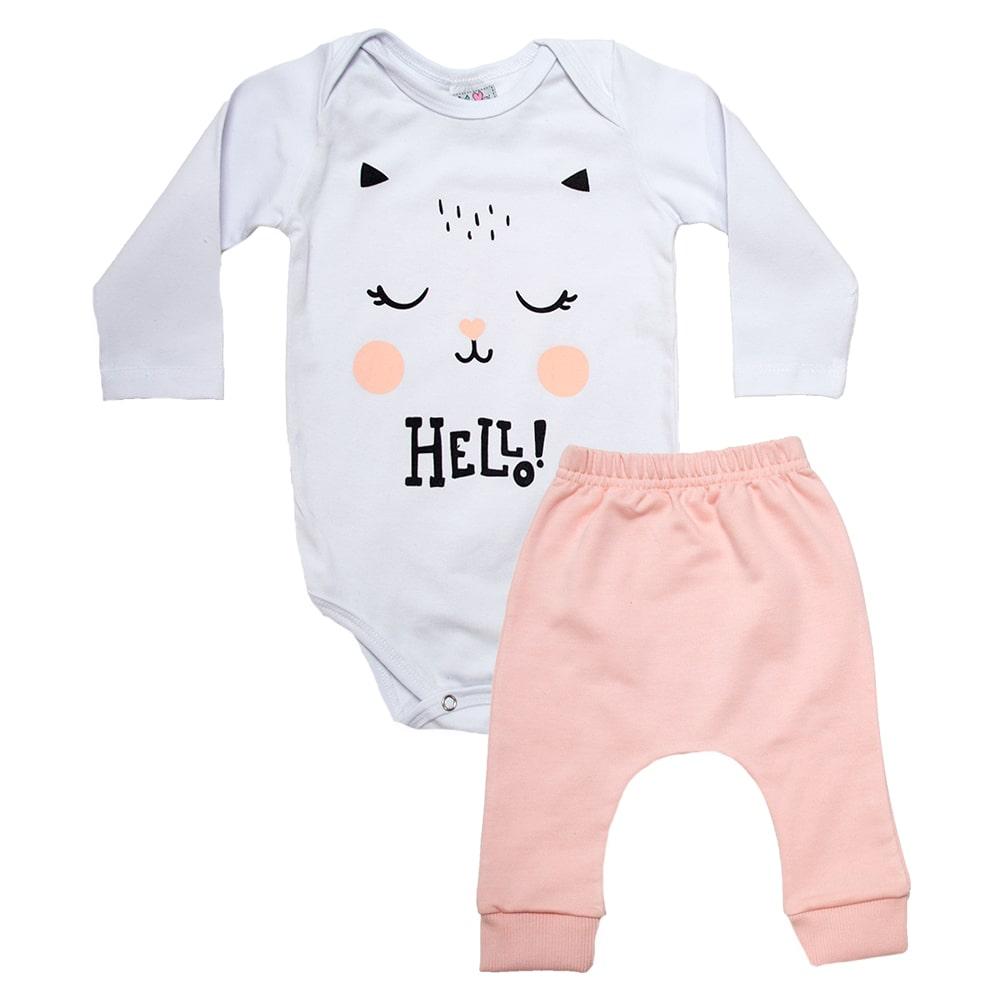 Conjunto Bebê Body e Calça Gatinha Salmão  - Jeito Infantil