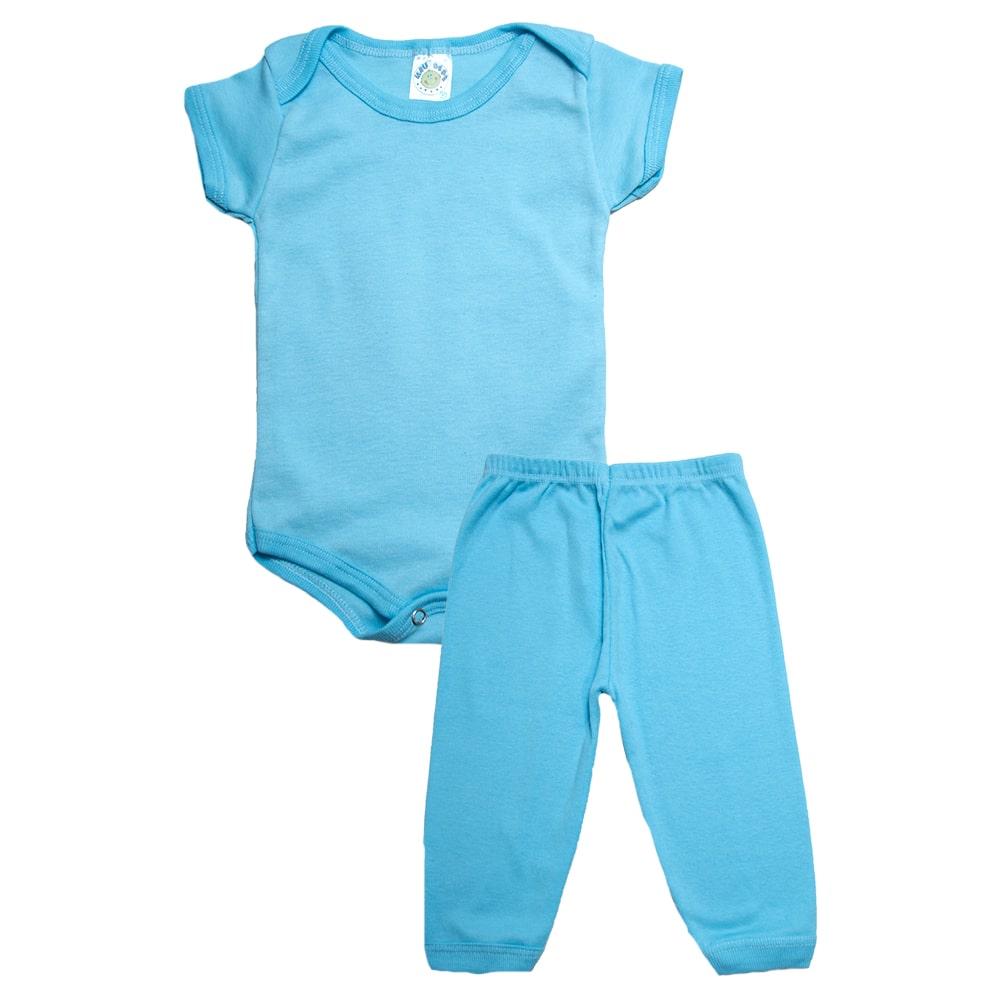 Conjunto Bebê Body e Calça Liso Azul  - Jeito Infantil