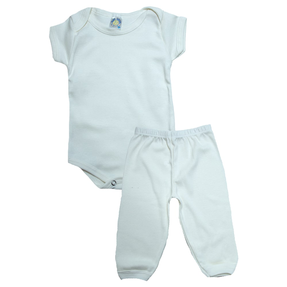 Conjunto Bebê Body e Calça Liso  Pérola  - Jeito Infantil