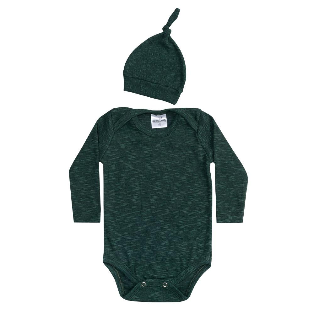 Conjunto Bebê Manga Longa Body e Touca Verde  - Jeito Infantil