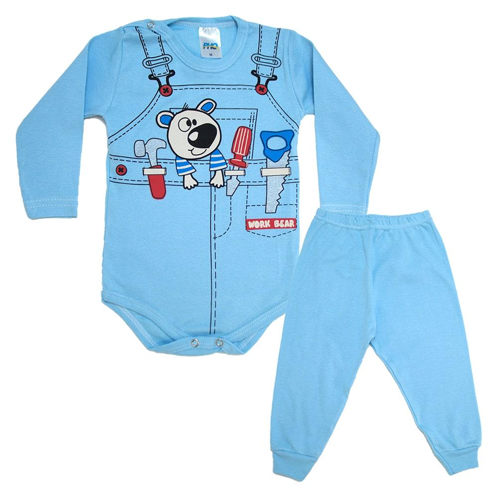 Conjunto Bebê Body Ferramentas  Azul  - Jeito Infantil