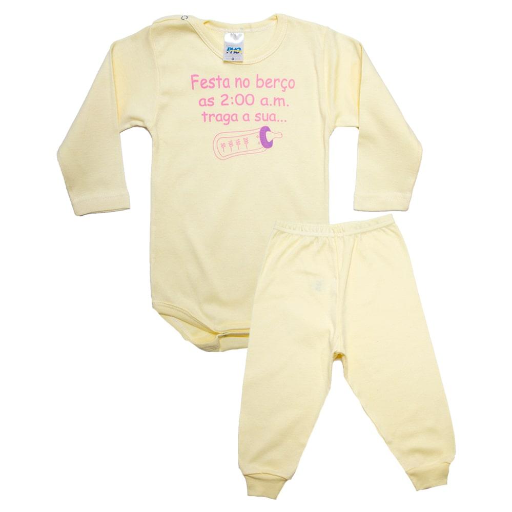 Conjunto Bebê Body Festa No Berço Amarelo Com Rosa  - Jeito Infantil