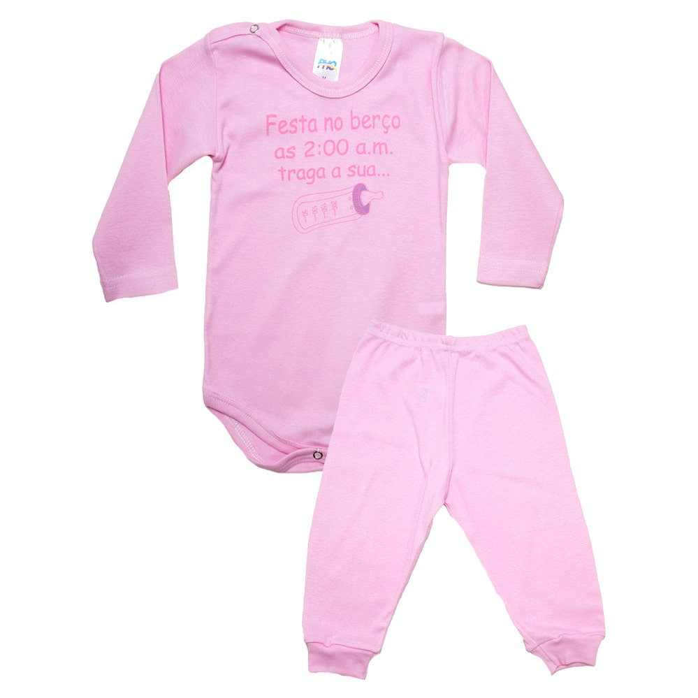 Conjunto Bebê Body Festa No Berço  Rosa  - Jeito Infantil