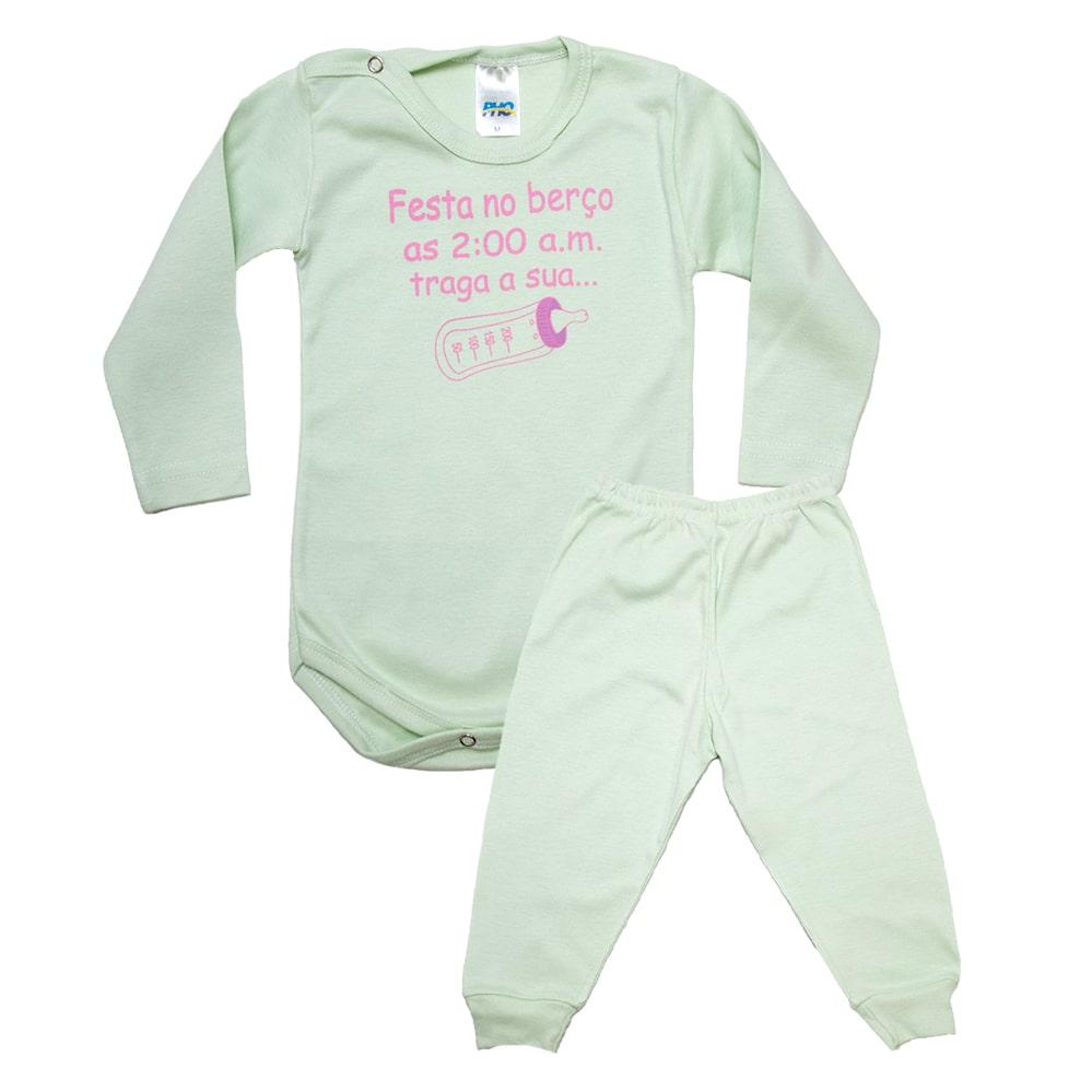 Conjunto Bebê Body Festa No Berço Verde Com Rosa  - Jeito Infantil