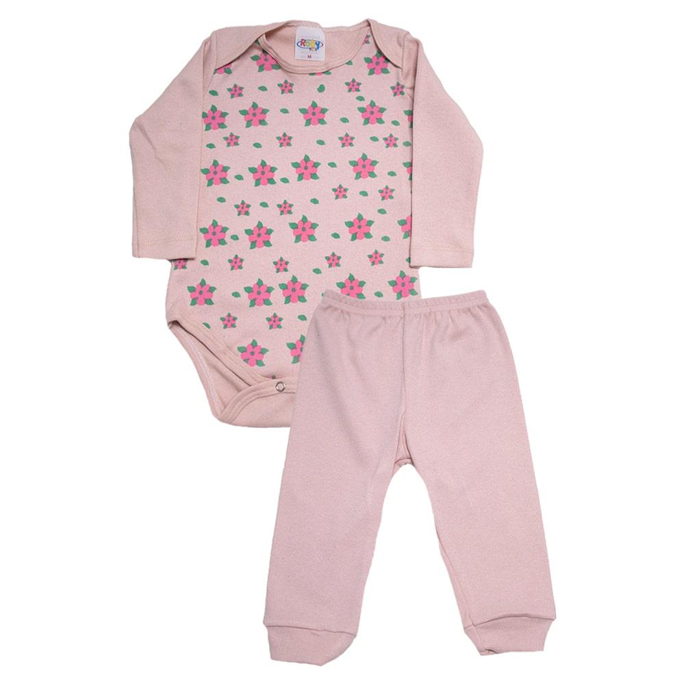 Conjunto Bebê Body Floral Rose  - Jeito Infantil