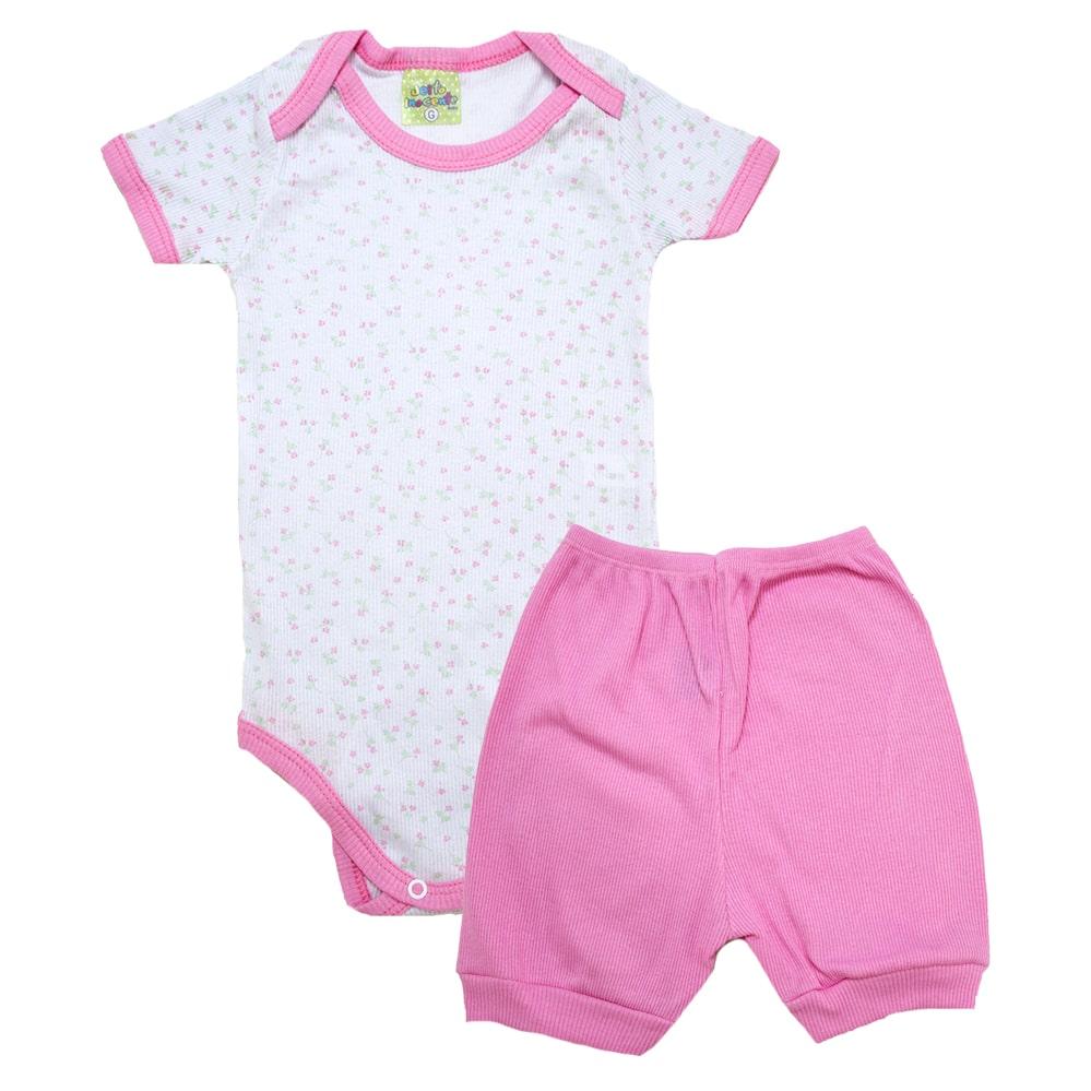 Conjunto Bebê Body Florzinhas Branco e Rosa  - Jeito Infantil