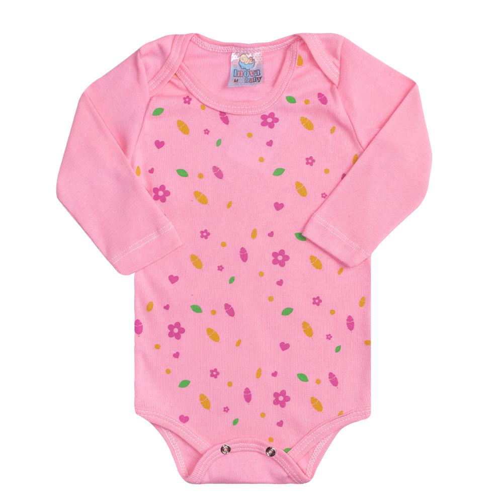 Conjunto Bebê Body Florzinhas Rosa  - Jeito Infantil