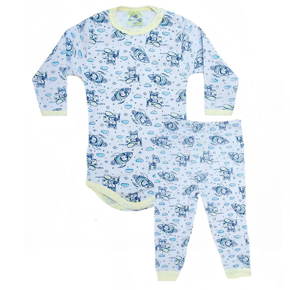 Conjunto Bebê Body Foguetes  Branco e Amarelo  - Jeito Infantil