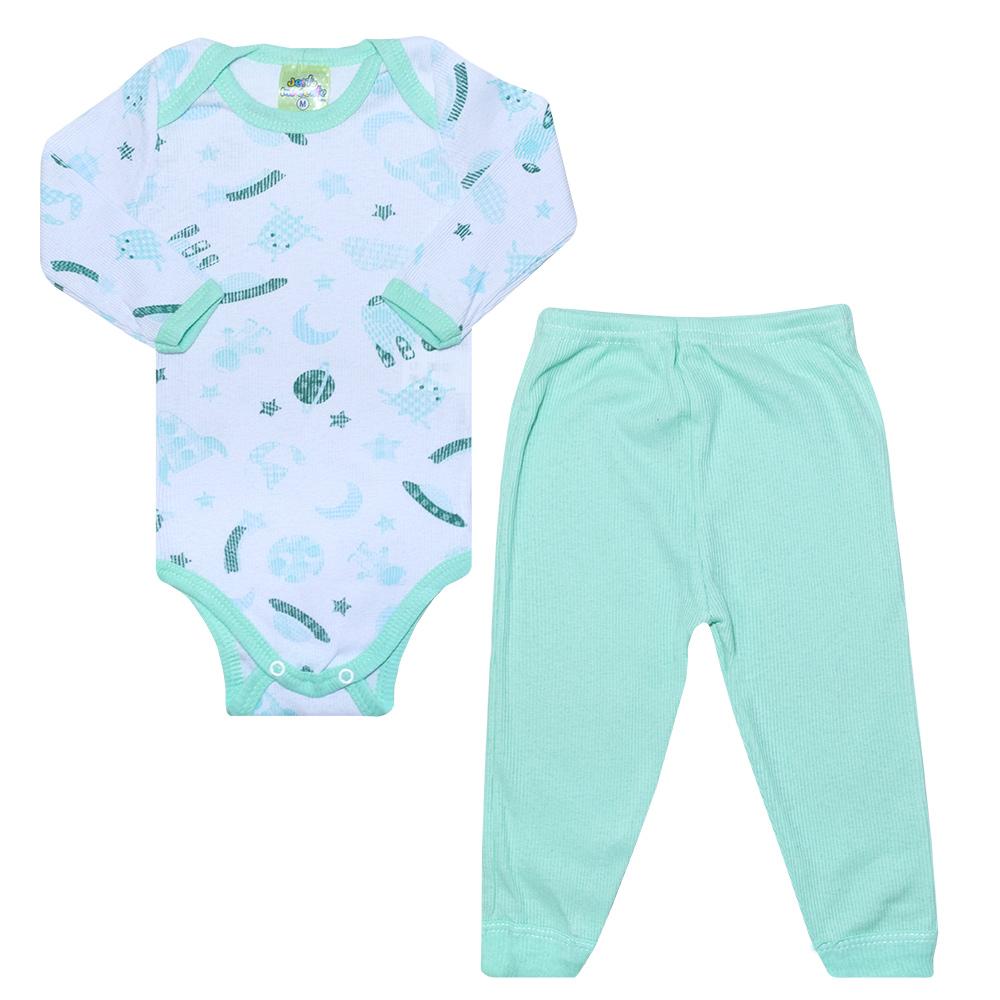 Conjunto Bebê Body Foguetes Verde  - Jeito Infantil