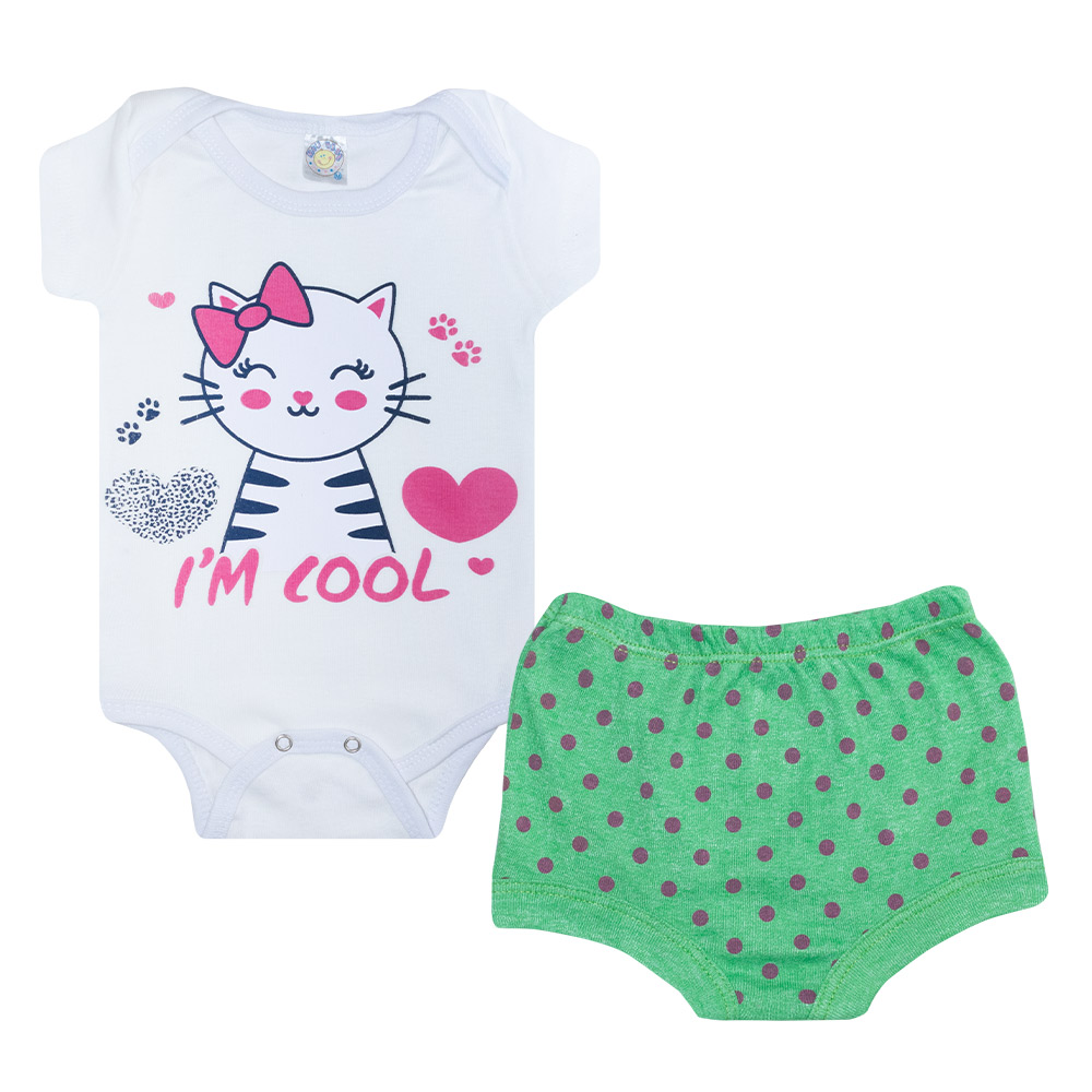 Conjunto Bebê Body Gatinha Branco  - Jeito Infantil