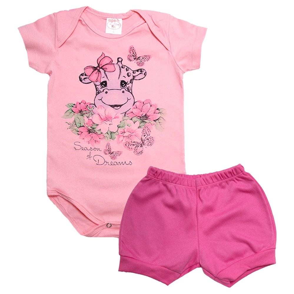 Conjunto Bebê Body Girafa Rosa  - Jeito Infantil