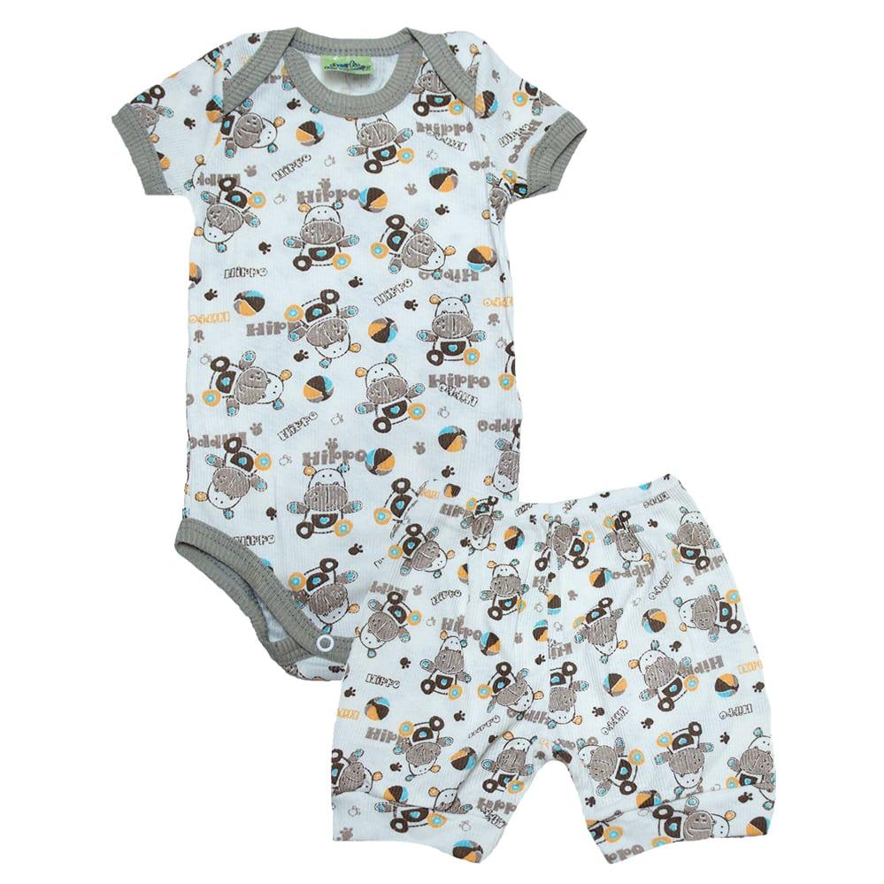 Conjunto Bebê Body Hipopótamo Pérola E Marrom  - Jeito Infantil