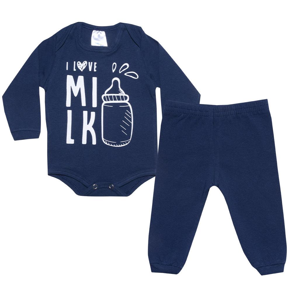 Conjunto Bebê Body I Love Milk Marinho  - Jeito Infantil