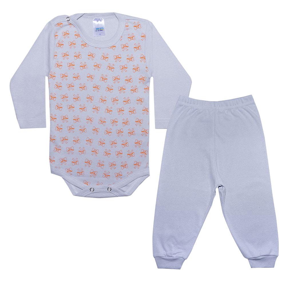 Conjunto Bebê Body Lacinhos Cinza  - Jeito Infantil
