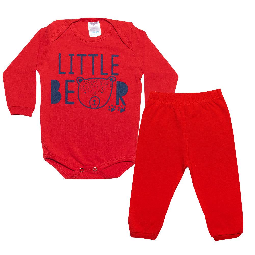 Conjunto Bebê Body Little Bear Vermelho  - Jeito Infantil