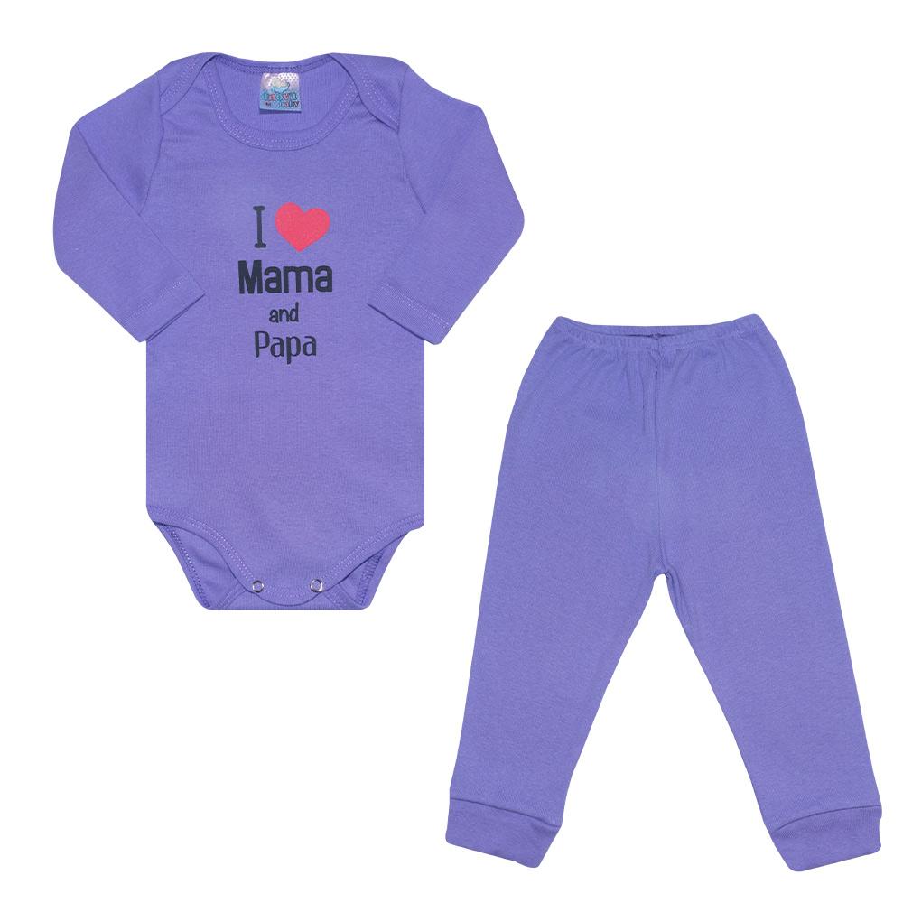 Conjunto Bebê Body Mama And Papa Roxo  - Jeito Infantil