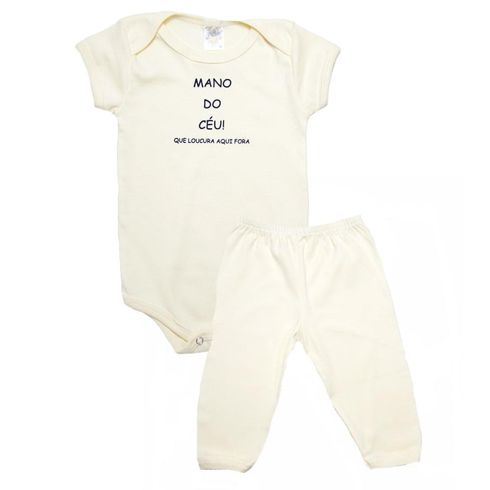 Conjunto Bebê Body Mano Do Céu Amarelo  - Jeito Infantil