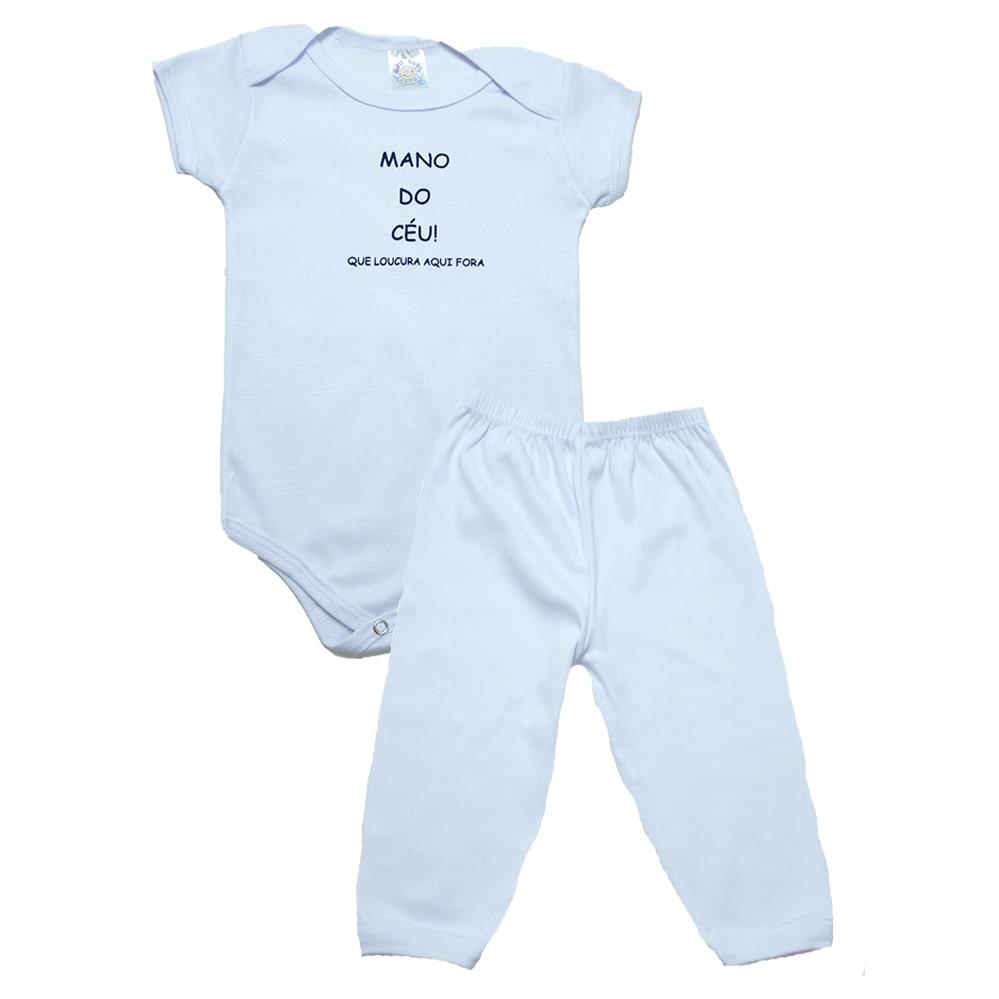Conjunto Bebê Body Mano Do Céu  Branco  - Jeito Infantil