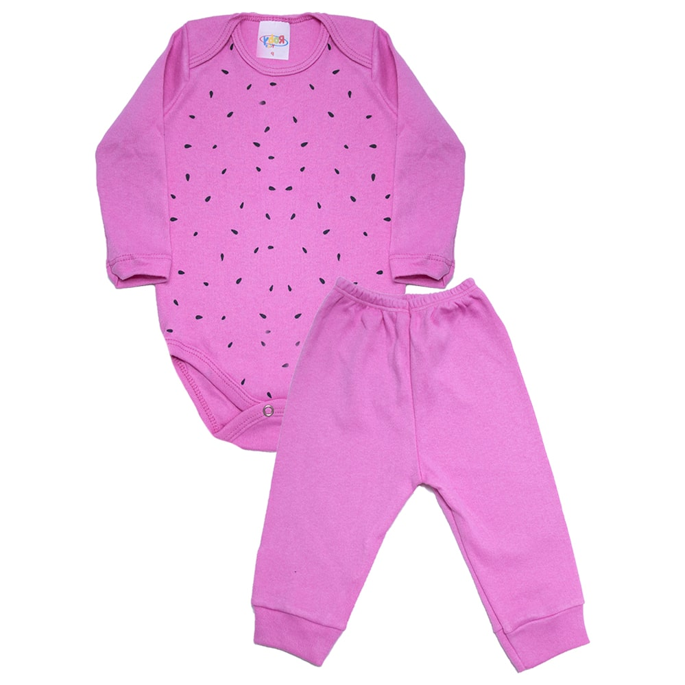 Conjunto Bebê Body Melância Pink  - Jeito Infantil