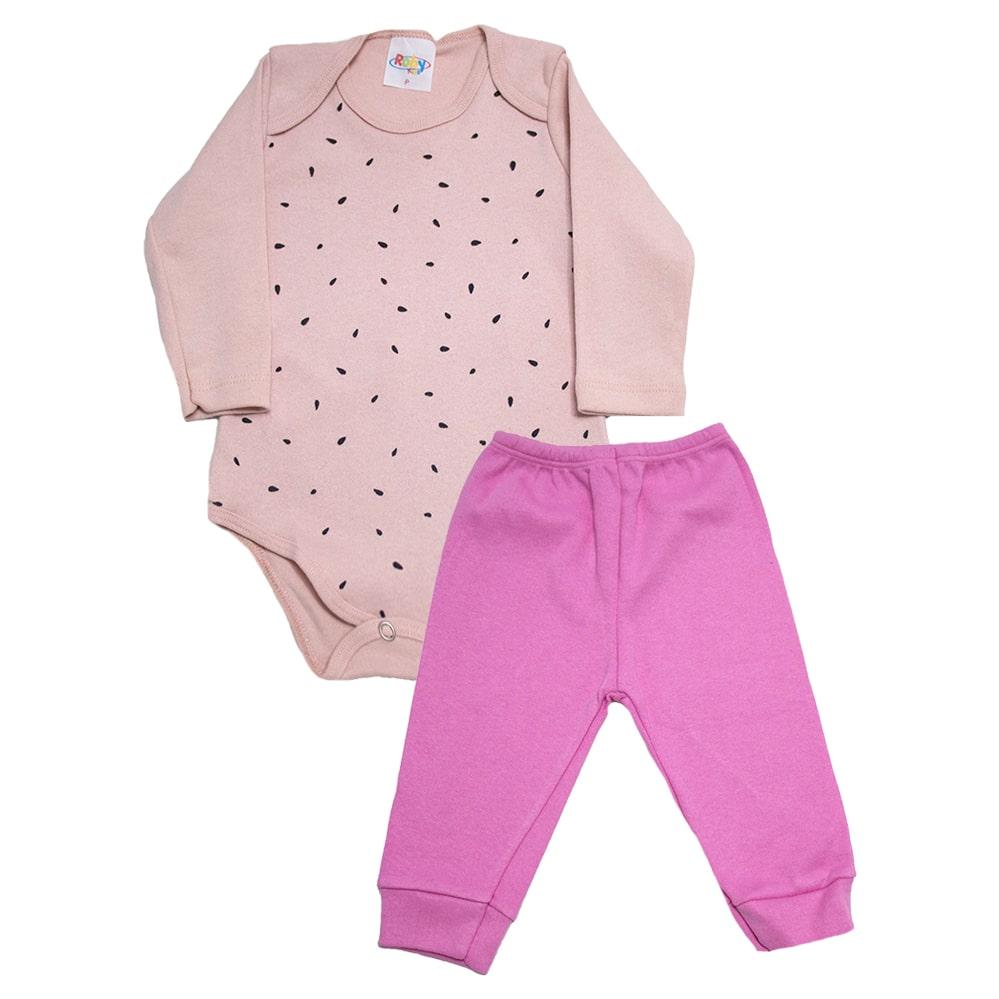Conjunto Bebê Body Melância Rose  - Jeito Infantil