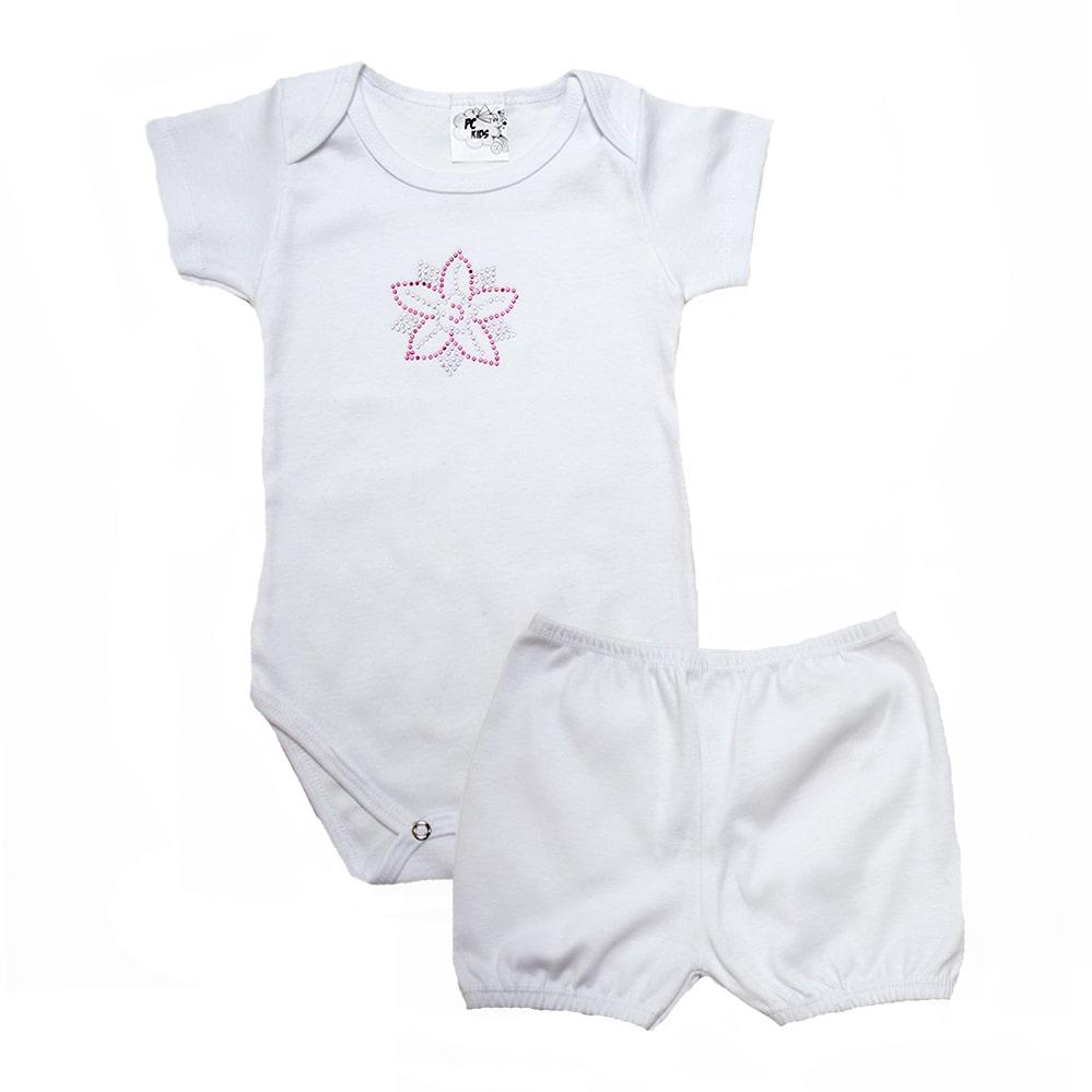 Conjunto Bebê Body Menina Branco  - Jeito Infantil