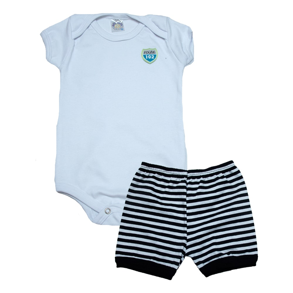 Conjunto Bebê Body Menino Branco  - Jeito Infantil