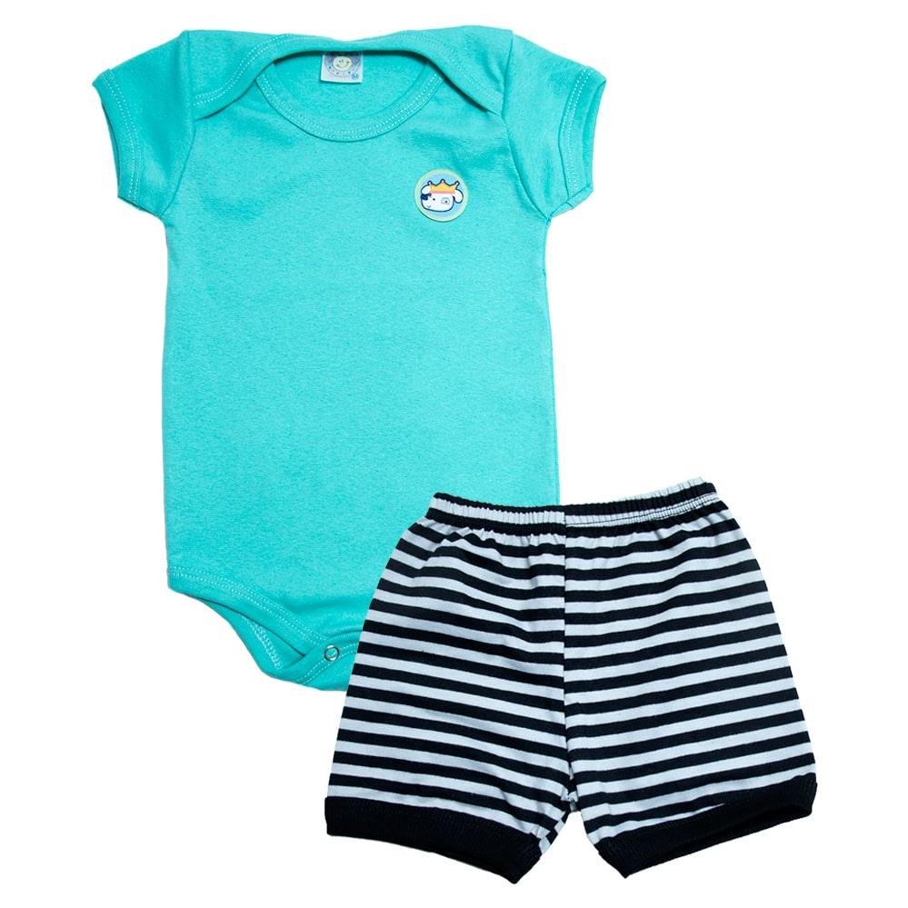 Conjunto Bebê Body Menino Verde  - Jeito Infantil