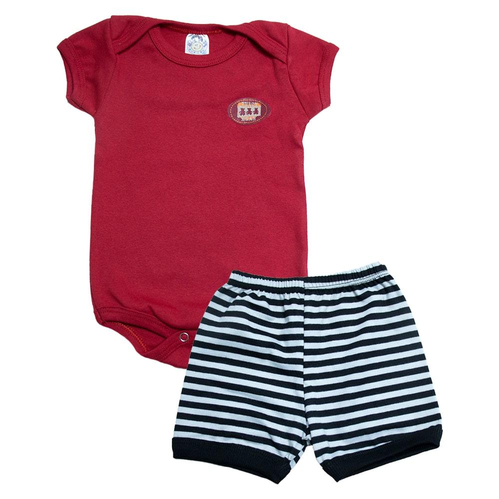 Conjunto Bebê Body Menino Vermelho  - Jeito Infantil
