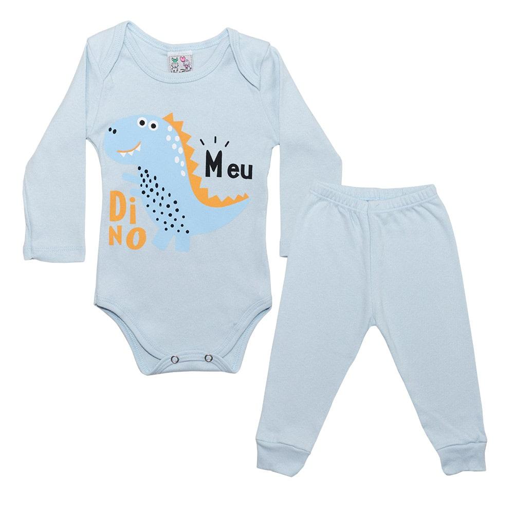 Conjunto Bebê Body Meu Dino Azul  - Jeito Infantil