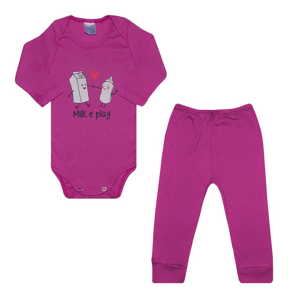 Conjunto Bebê Body Milk e Play Pink  - Jeito Infantil