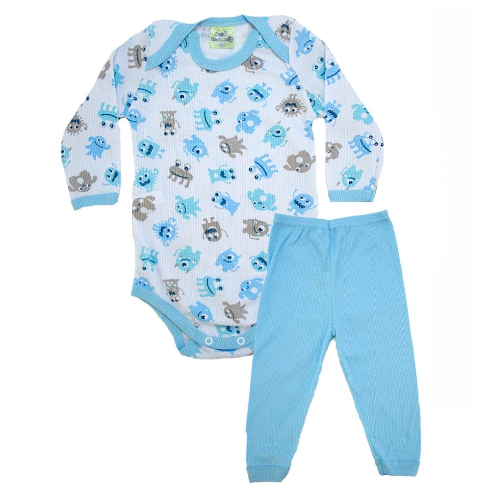 Conjunto Bebê Body Monstrinhos   Branco e Azul  - Jeito Infantil