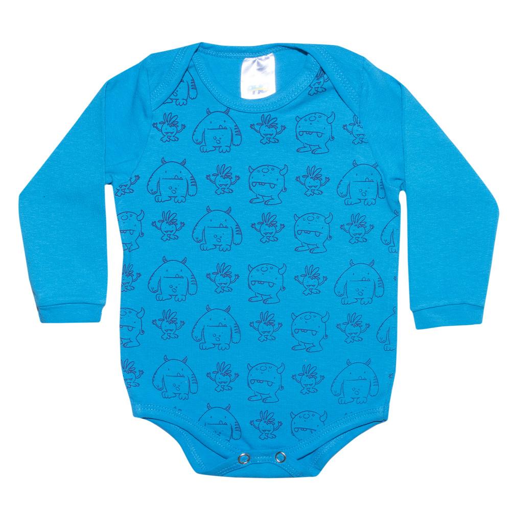 Conjunto Bebê Body Monstrinhos Turquesa  - Jeito Infantil