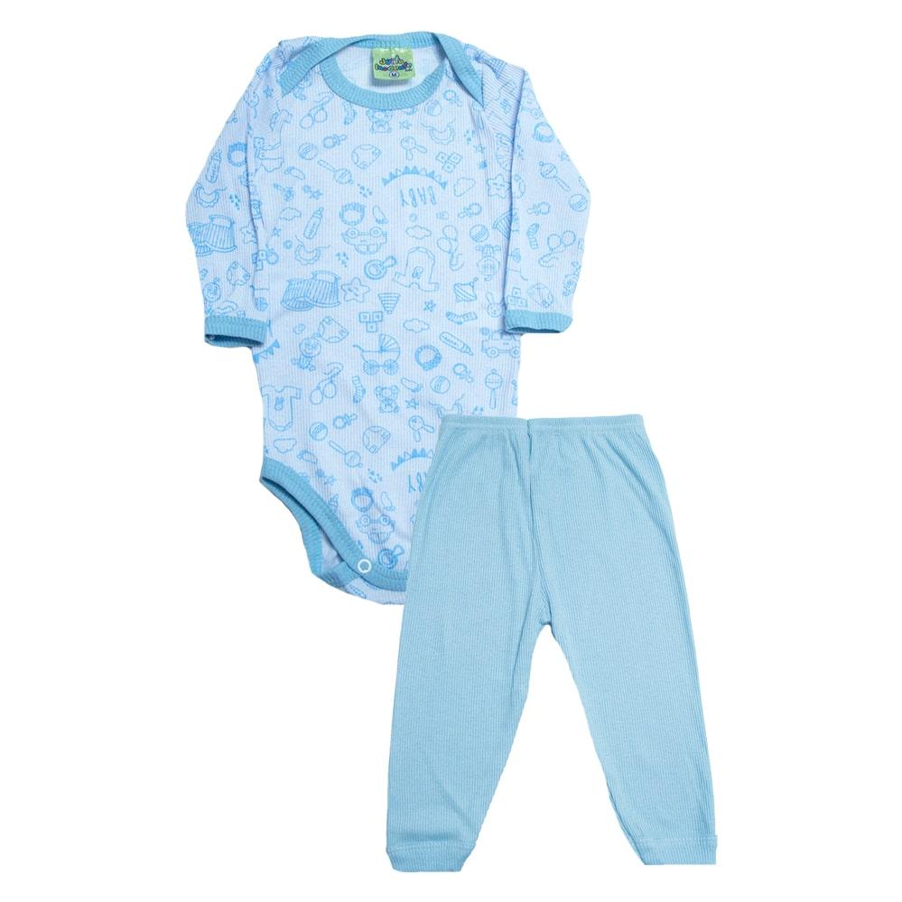 Conjunto Bebê Body Mundo Baby   Branco e Azul  - Jeito Infantil