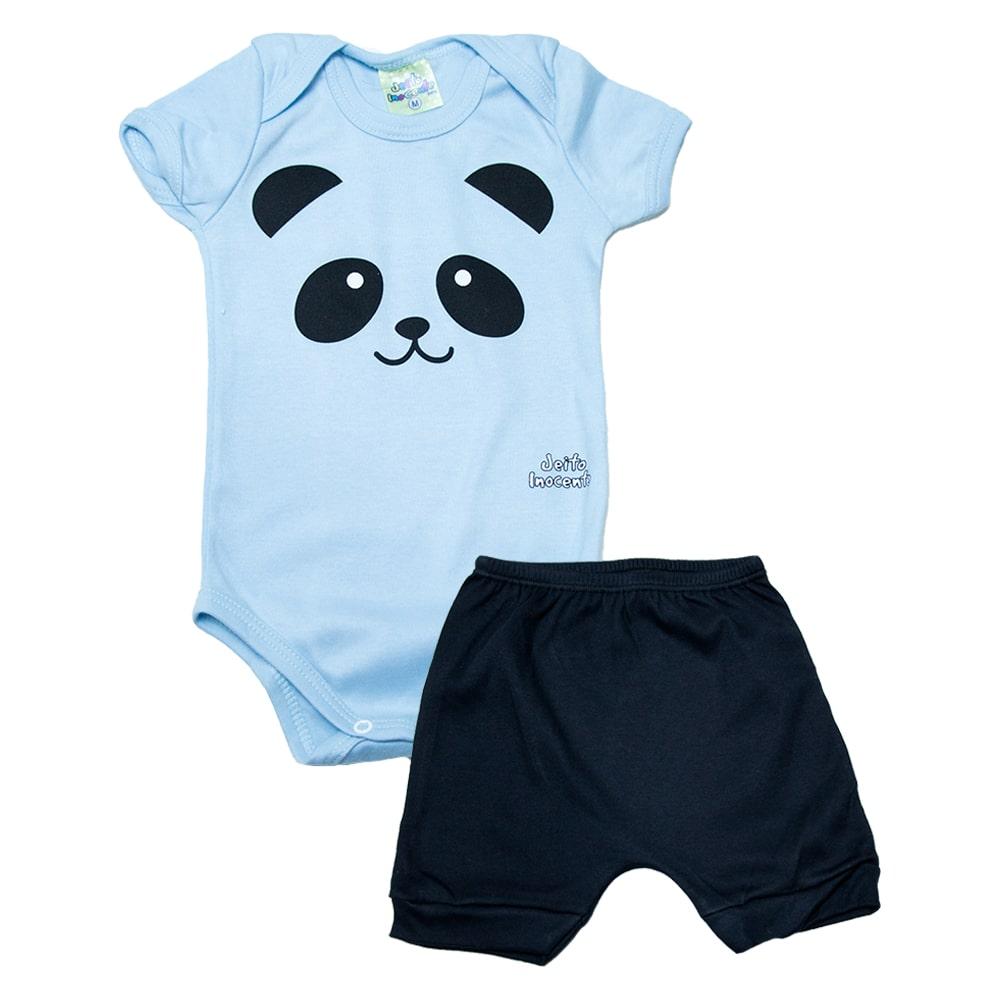Conjunto Bebê Body Panda  Azul  - Jeito Infantil