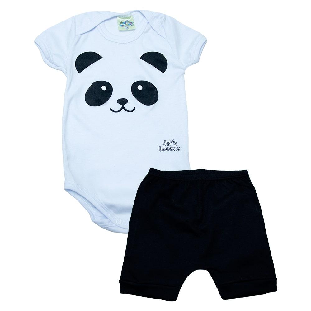 Conjunto Bebê Body Panda Branco  - Jeito Infantil