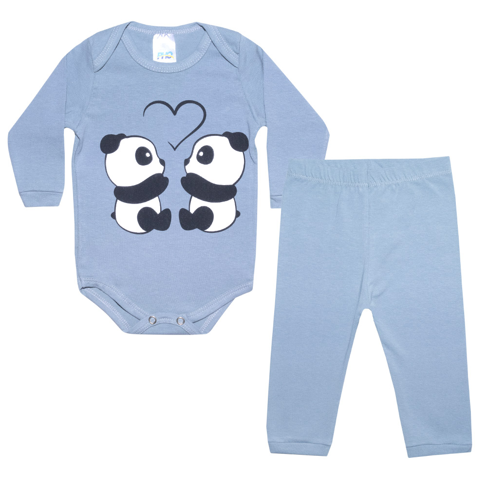 Conjunto Bebê Body Panda Cinza  - Jeito Infantil