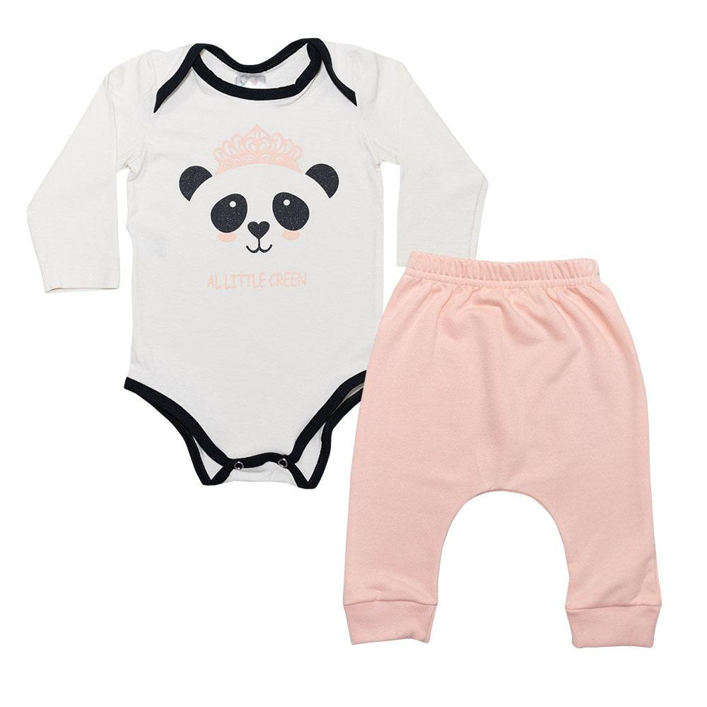 Conjunto Bebê body Panda Pérola  - Jeito Infantil