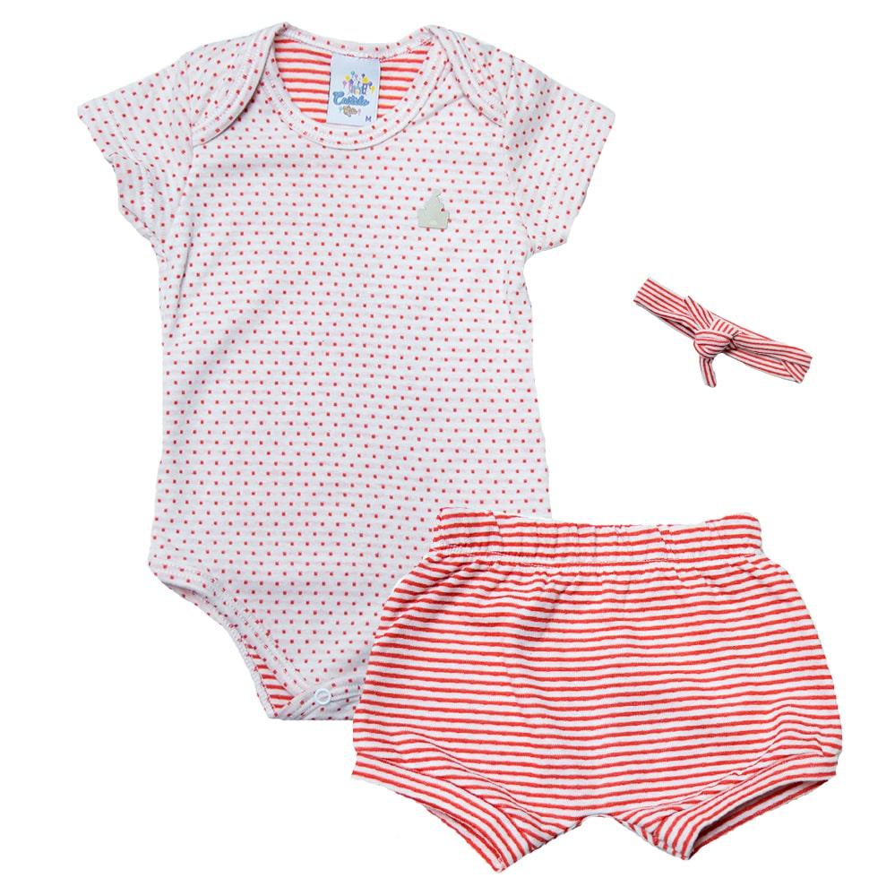 Conjunto Bebê Body Poá Laranja  - Jeito Infantil